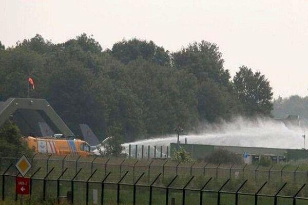 برخورد یک جنگنده بلژیک با ساختمانی در پایگاه هوایی هلند